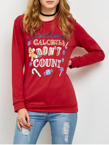 Buy Pullover Sweatshirt with Christmas Graphic RED XL