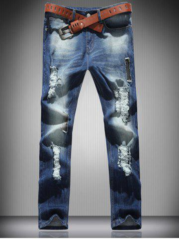 Cheap Mid Rise Zip Fly Ripped Denim Jeans