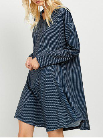 Latest Patchwork Striped Long Sleeve Tunic Dress