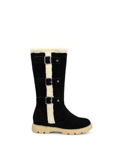 Latest Faux Shearling Panel Buckles Mid Calf Boots