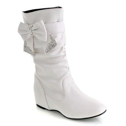 Cheap PU Leather Bowknot Ruched Mid Calf Boots