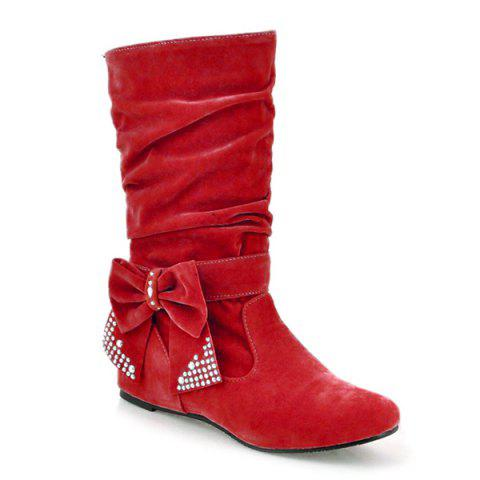 Outfit Flock Bowknot Ruched Mid Calf Boots RED 39