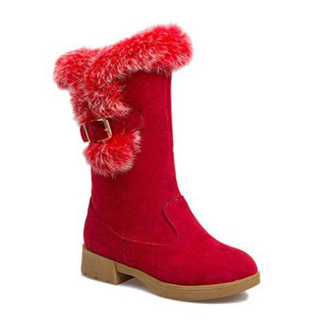 Outfits Faux Fur Panel Buckle Strap Snow Boots RED 39