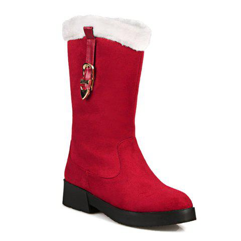 Plush Panel Buckle Strap Mid Calf Boots - Red - 38