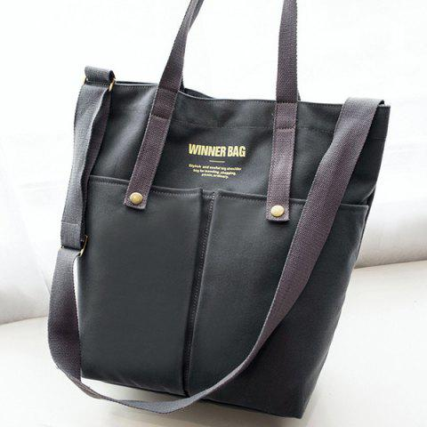 New Magnetic Closure Letter Print Canvas Tote