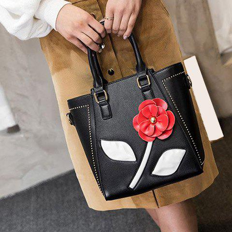 Chic Faux Leather Flower Tote Bag