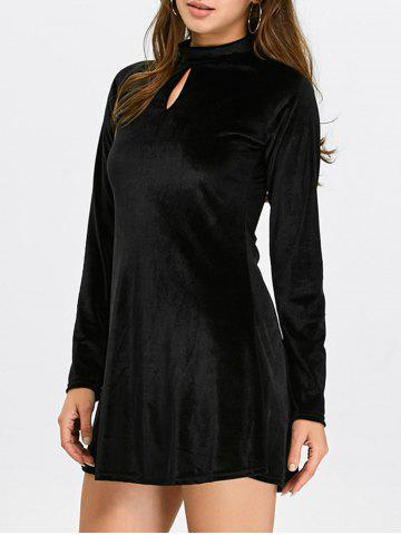 Keyhole Mock Neck Velvet Dress - Black - M