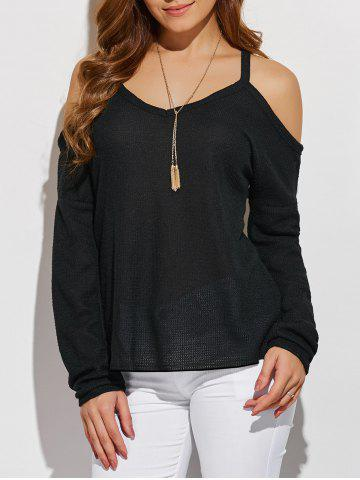 Hot V Neck Cold Shoulder Asymmetric Pullover Sweater