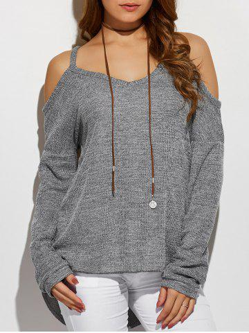 Outfits V Neck Cold Shoulder Asymmetric Pullover Sweater