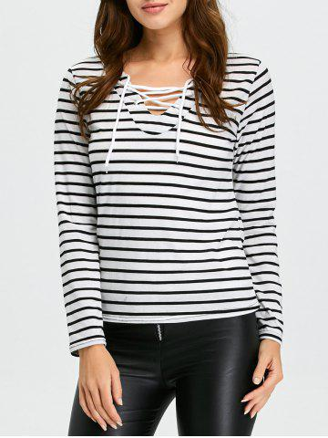 Best Long Sleeve Lace-Up Striped T-Shirt