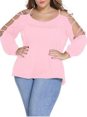 Cheap Plus Size Long Sleeve Cut Out Tee