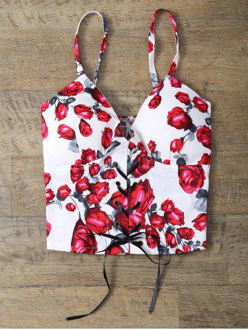 Shop Rose Print Lace Up Padded Bralet Top