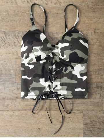Hot Camouflage Lace Up Padded Bralet Top