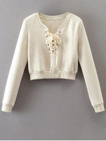Discount Lace Up Cropped Fleece Sweatshirt OFF WHITE L