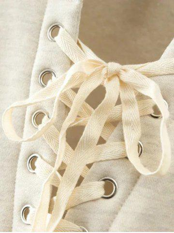 Best Lace Up Cropped Fleece Sweatshirt - M OFF-WHITE Mobile