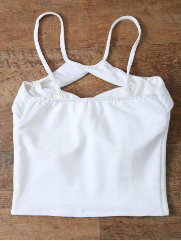 Trendy Cut Out Cami Cropped Tank Top - ONE SIZE WHITE Mobile