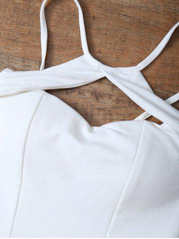 Shop Cut Out Cami Cropped Tank Top - ONE SIZE WHITE Mobile