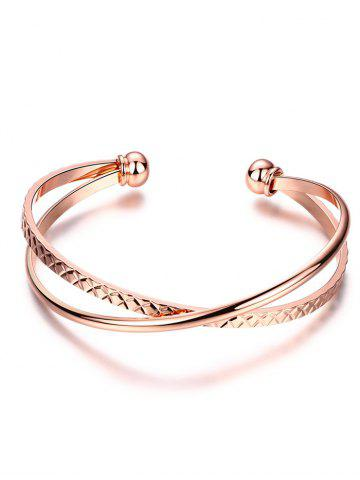 Chic Crossover Engraved Cuff Bracelet ROSE GOLD