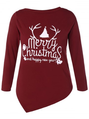 Trendy Asymmetrical Christmas Tee WINE RED M