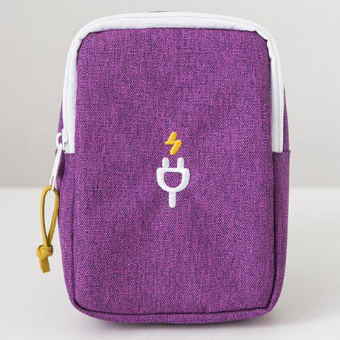 Nylon Pouch for Cellphone Accessories Earphones USB Cables - Purple