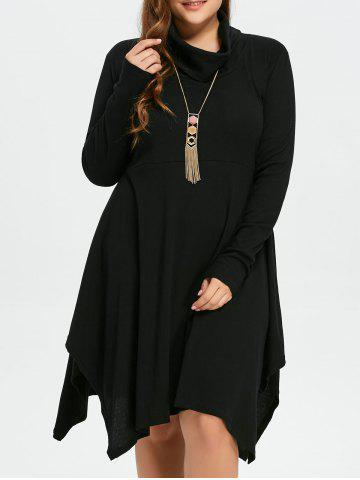Chic Plus Size Cowl Neck Asymmetric Dress