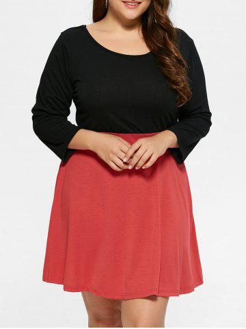 Outfits Plus Size Color Block Mini Dress - 2XL BLACK Mobile