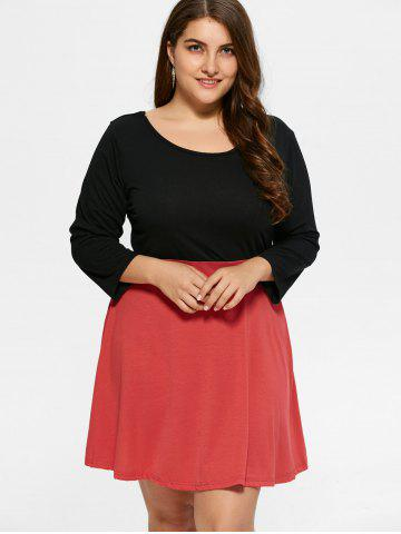 Fancy Plus Size Color Block Mini Dress - 2XL BLACK Mobile