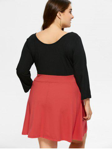Cheap Plus Size Color Block Mini Dress - 2XL BLACK Mobile