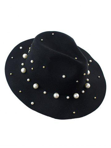 Chic Fake Pearl Felt Floppy Hat BLACK