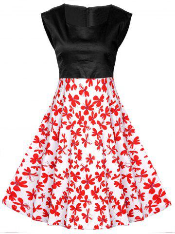 Sale Vintage Abstract Floral Print High Waist Dress BLACK AND WHITE AND RED 2XL