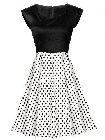 Chic Vintage Polka Dot High Waist Dress BLACK L