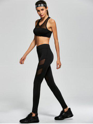 Trendy Mesh Panel Tank Top and Stretch Pants Yoga Suit - S BLACK Mobile