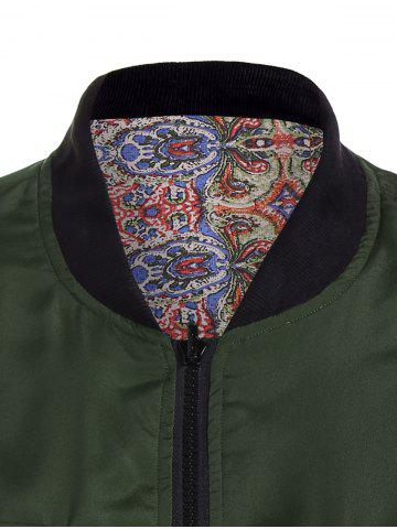 Cheap Convertible Zip Up Bomber Jacket - S GREEN Mobile