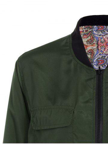 Affordable Convertible Zip Up Bomber Jacket - S GREEN Mobile