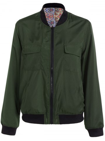 Hot Convertible Zip Up Bomber Jacket - S GREEN Mobile