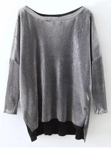 Affordable Slash Neck Pleated High Low T-Shirt FROST L