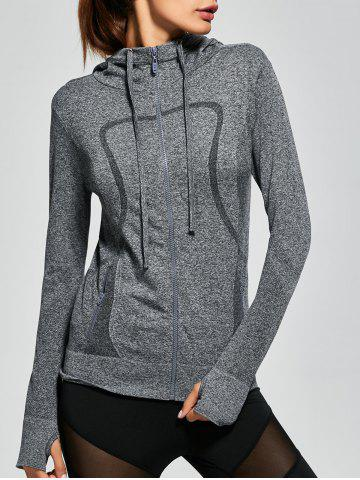 Outfit Hooded Zip Running Jacket - M GRAY Mobile