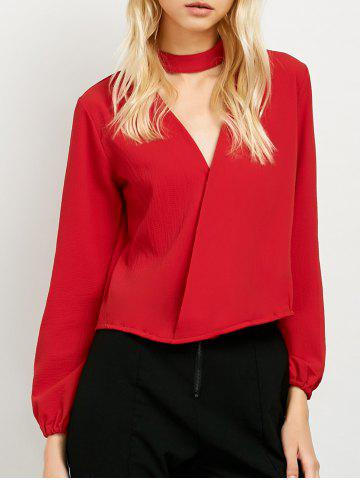 Chic Long Sleeve Surplice Choker Blouse RED XL