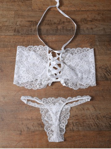 Cheap Unlined Bowknot Lace Wireless Bra and V String Panty WHITE XL