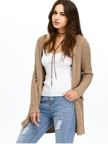 New Hooded Ribbed Long Cardigan BROWN 2XL