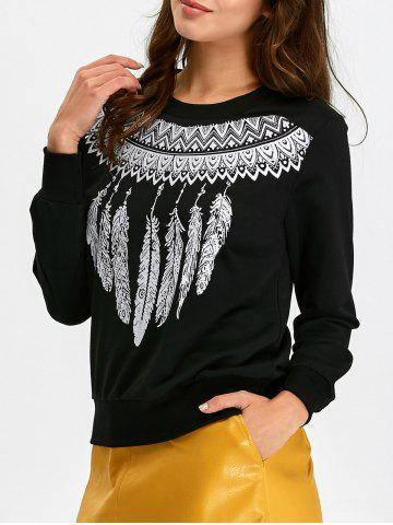 Sweat-shirt pull imprimé plume de tribu Noir XL