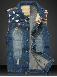 Star Print Stripe PU Leather Spliced Denim Waistcoat