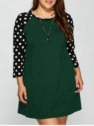 Plus Size Polka Dot Panel Short Casual Dress