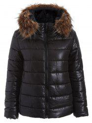 Fur Hooded Zip Up Down Coat