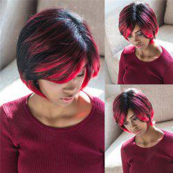 Trendy Side Bang Synthetic Short Fluffy Straight Black Red Mixed Wig For Women