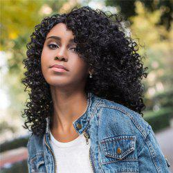 Medium Impressive Side Bang Black Afro Curly Women's Synthetic Hair Wig - BLACK