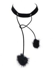Double Fuzzy Ball Velvet Choker Necklace - BLACK