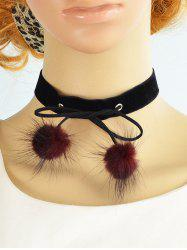 Double Fuzzy Ball Velvet Choker Necklace