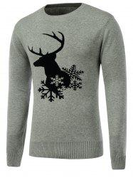 Snowflake Reindeer Crew Neck Christmas Sweater - GRAY XL