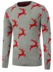 Crew Neck Pullover Christmas Sweater - GRAY XL
